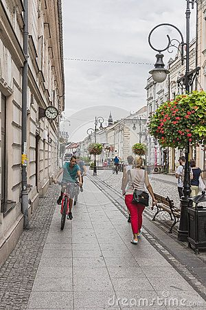 Jagielońska Street and old buildings in  Historical center of Nowy Sącz City in Poland. Europe. Only for pedestrian.