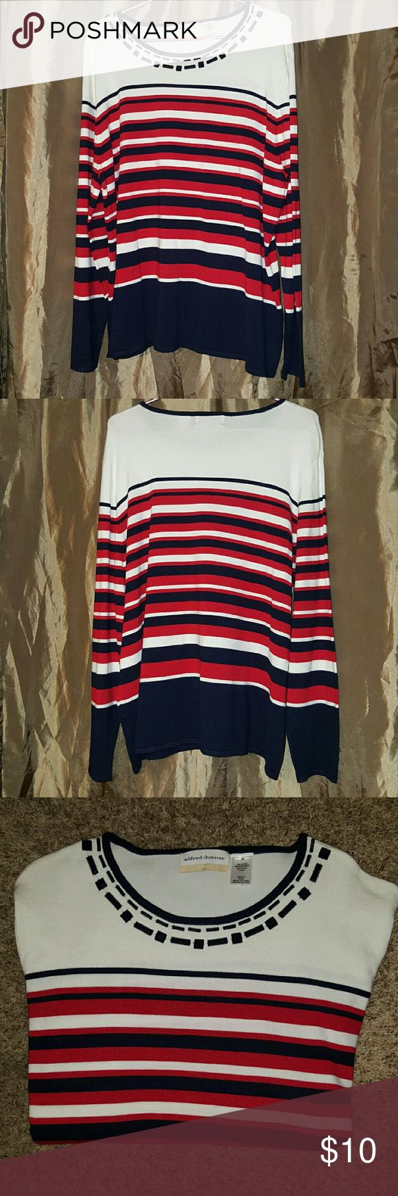 Alfred Dunner striped top Alfred Dunner striped long sleeve top with navy stripes. Plus size 2x.   Pretty rectangle and square beads along the neckline, which gives the shirt an extra pop.   Item is in excellent used good condition. I inspect all my items for stains, rips and holes before listing.   *All my items are from a clean, pet and smoke free home*   Please look through all the pictures before purchasing.   Thank you for looking! Alfred Dunner Tops Tees - Long Sleeve