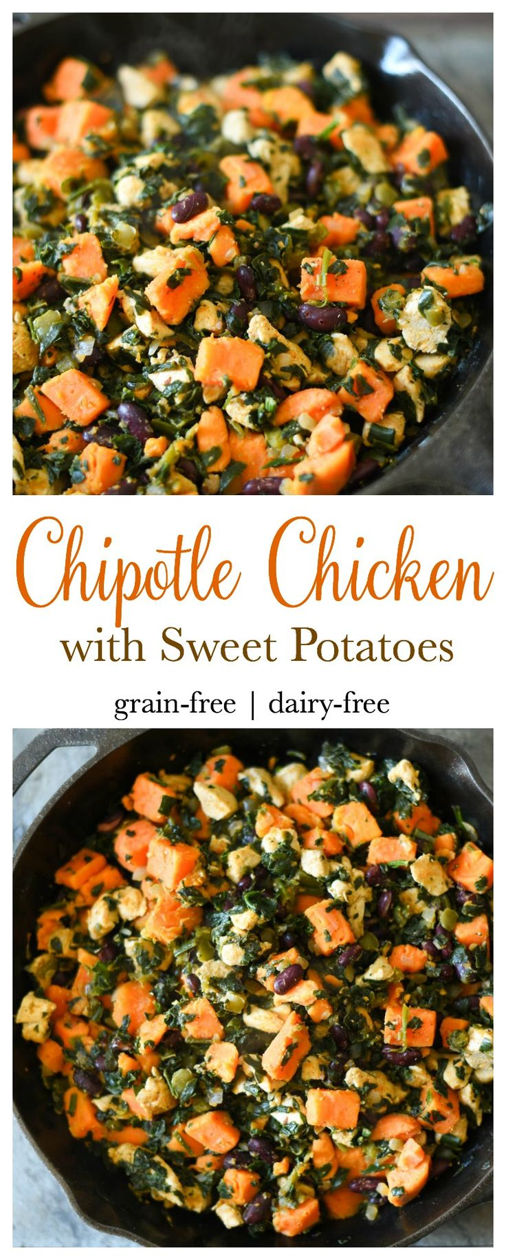 Quick and easy to make Chipotle Chicken with Sweet Potatoes. One pot. Grain-free, dairy-free dinner. THM-E