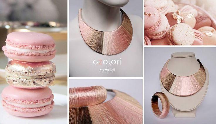 Czok Ildi designer jewellery #czokildi #czokildijewellry #designerjewellry #silk #yarn #brown #peach #beige #silver #necklace #bracelet * https://www.facebook.com/czokildi