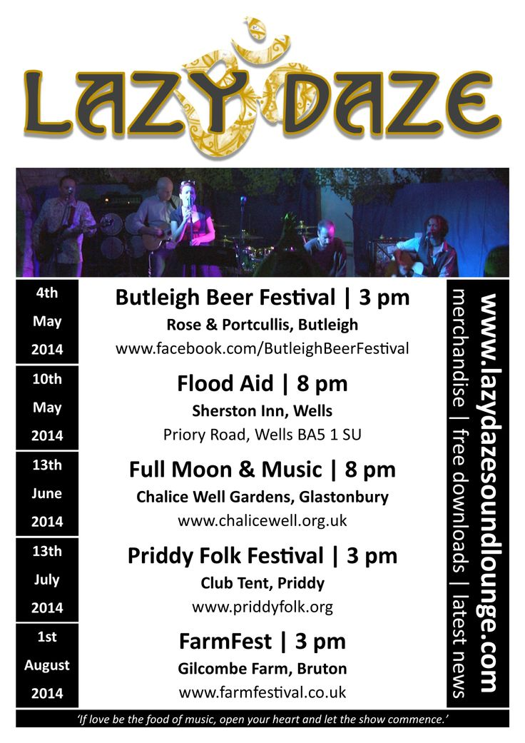 Lazy Daze multi-gig poster - May to August 2014.
