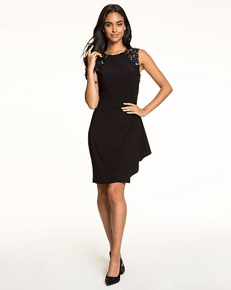 Knit & Lace Scoop Neck Cocktail Dress - Delicately placed lace updates our knit cocktail dress fashioned with a fitted silhouette and finished with a bold ruffled side.