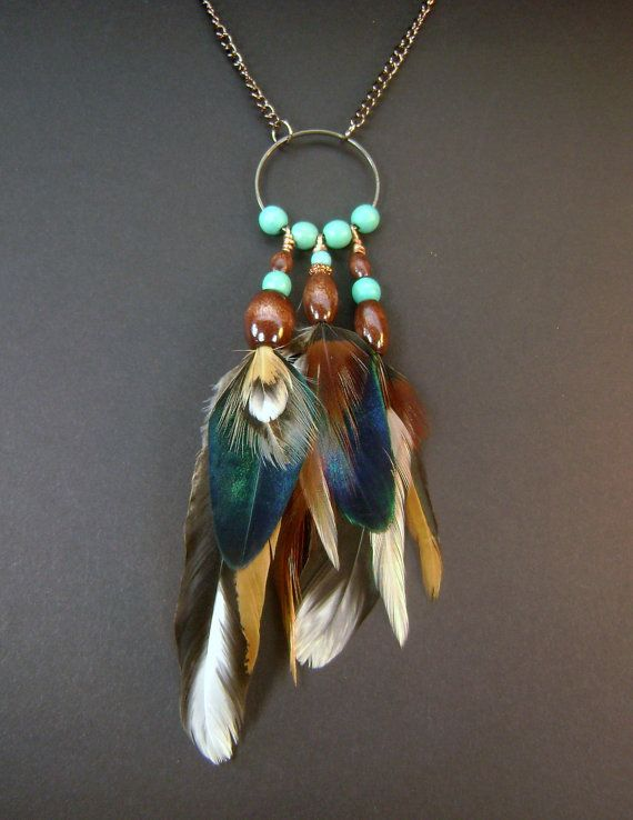 Real feather necklace copper necklace peacock by FeathersnThingz