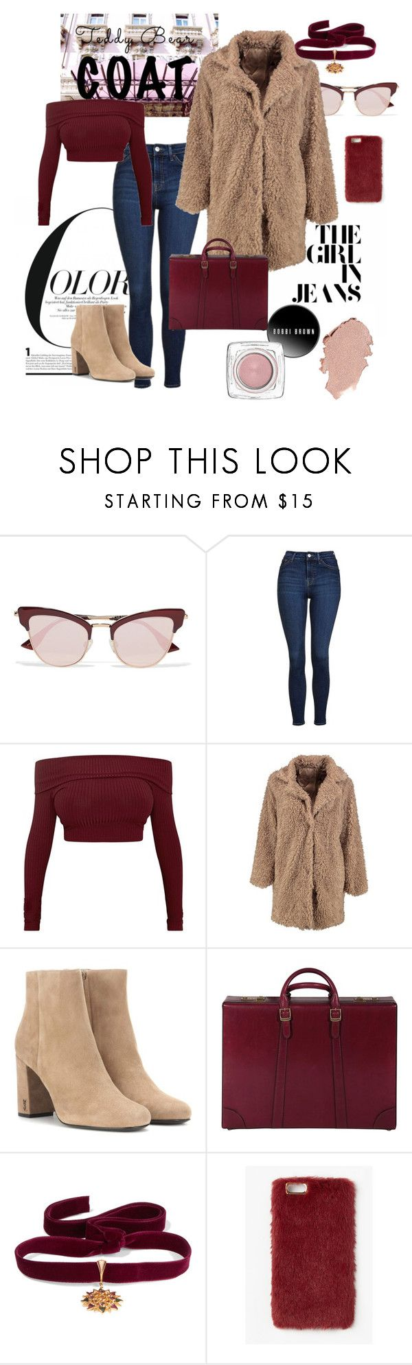 """""""Teddy x Bear-gundy"""" by constellationz ❤ liked on Polyvore featuring Le Specs, Topshop, Boohoo, Yves Saint Laurent, Gucci, Diego Percossi Papi and Missguided"""