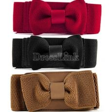 New Women's Girls Graceful Bowknot Elastic Lovely Belt With Buckle Waistband