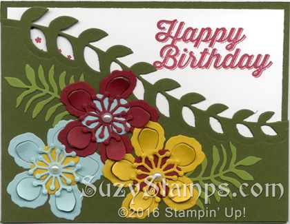 Stampin' Up! Birthday Cards - 2016-03 Class - Botanical Blooms and Perfect Pairings Stamp Sets and Botanical Builder Framelits Dies
