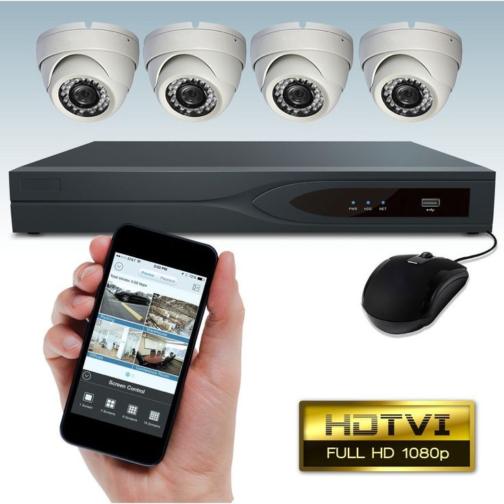 DripStone 4 Channel 1080p TVI DVR Security System with 4x 1080p HD Dome Camera 3.6mm Lens 60FT Night Vision