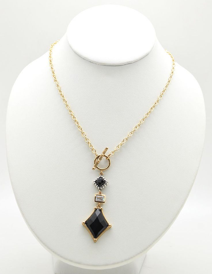 Barse Jewelry Onyx, Bronze, Silver and Crystal Toggle Necklace