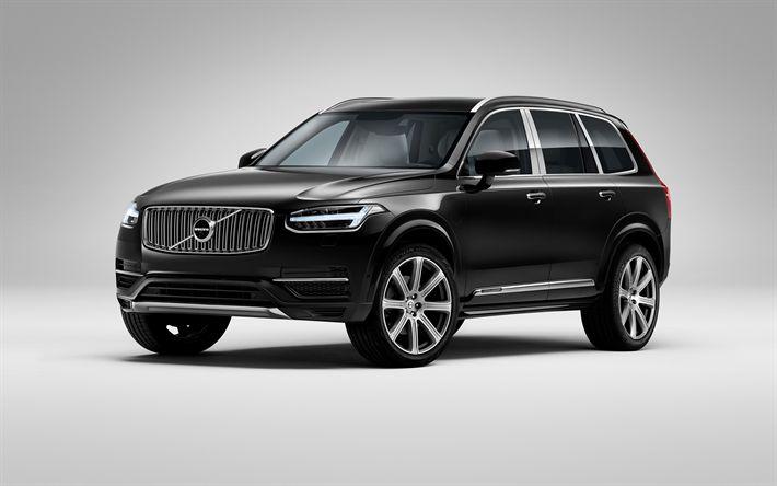 Download wallpapers Volvo XC90, 2017, Black XC90, SUV, luxury cars, Swedish cars, Volvo
