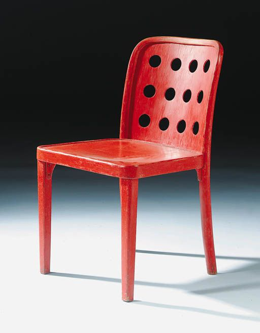 Josef Hoffmann and Oswald Haerdtl; Painted Bent Wood Sidechair for Thonet, 1929.