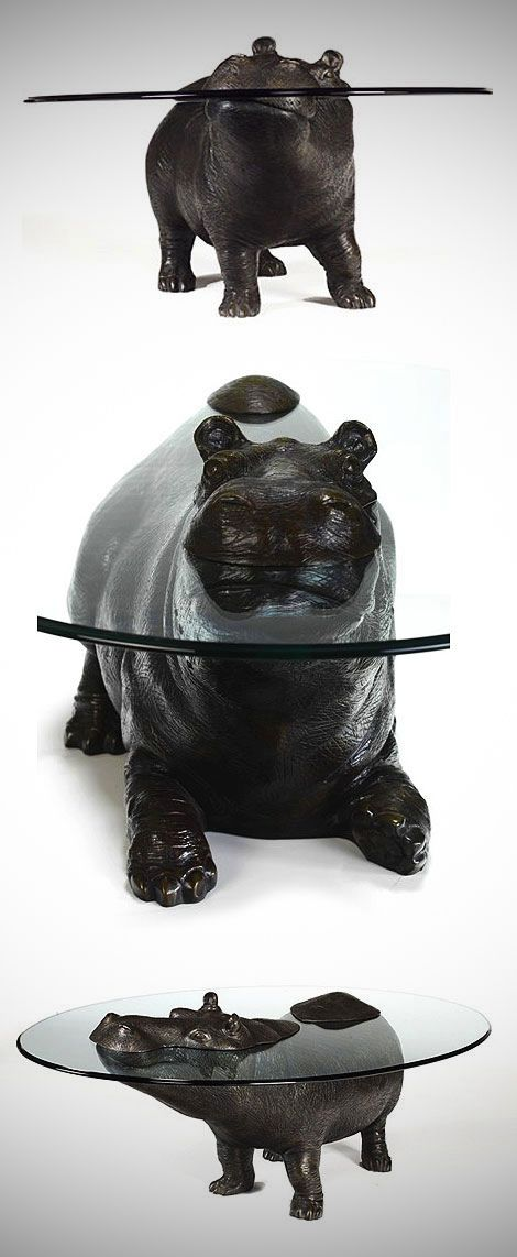 Table designed to look like a partially submerged hippo.