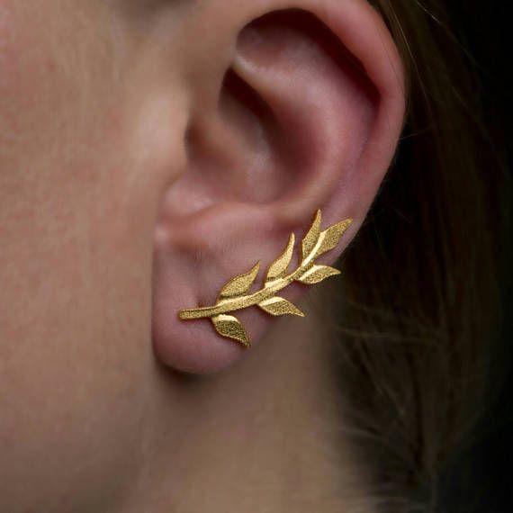 Αφήνει αυτί ορειβάτης, αυτί σφαλιάρα σκουλαρίκι, 925 ασημένια, σκουλαρίκια Δήλωση μανσέτα, Ear ορειβάτης, υφή σκουλαρίκια, 18Κ επιχρυσωμένο