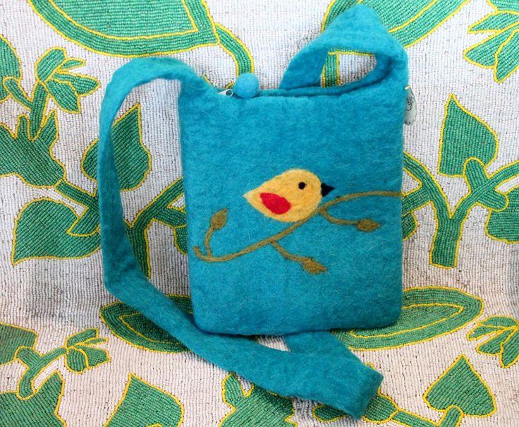 Bird felted wool purse