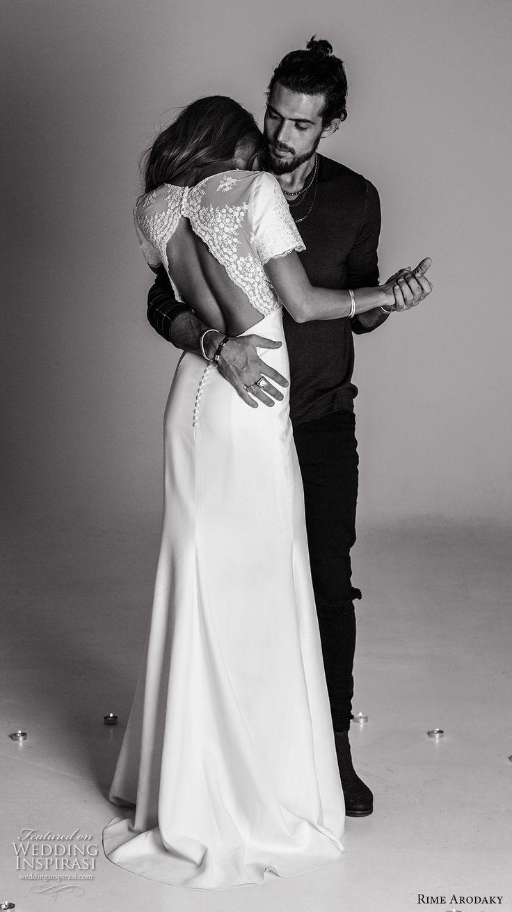 rime arodaky fall 2017 bridal short sleeves v neckline heavily embellished bodice elegant bohemian sheath wedding dress keyhole back sweep train (5) bv