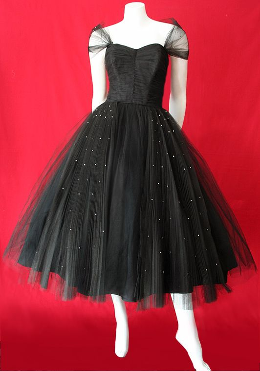 Divine vintage 1950s black tulle dress trimmed with rhinestones by Fred Perlberg.  $365 AUD