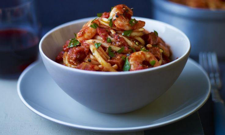 Recipe: Prawn linguine with chorizo & cabernet tomato sauce - done