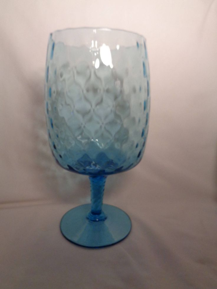 "New to my #etsy shop: Beautiful Blue Quilted Diamond Pattern Glass Vase, Lg. 10"" tall by 6"" Diameter, Hand Blown Pedestal Blue Glass Vase, MCM, Hollywood Regency http://etsy.me/2ClILkz  #vintage #vintagevase #blueglassvase #pedestalvase #MCM #HollywoodRegency #gift"