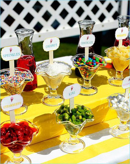 Love the Ice Cream Bar! I like this idea but the picture seems to be taken outside, I would do this at an even taking place inside cause then all the chocolates and goodies will melt.