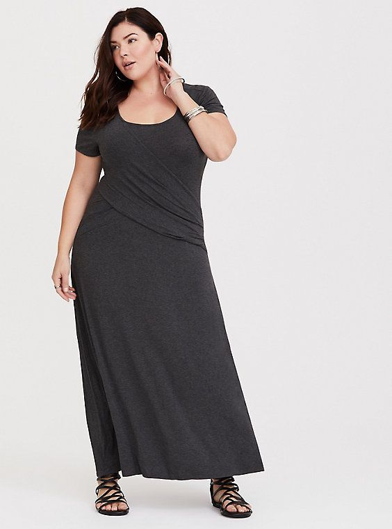 Dark Grey Casual Plus Size Maxi Dresses