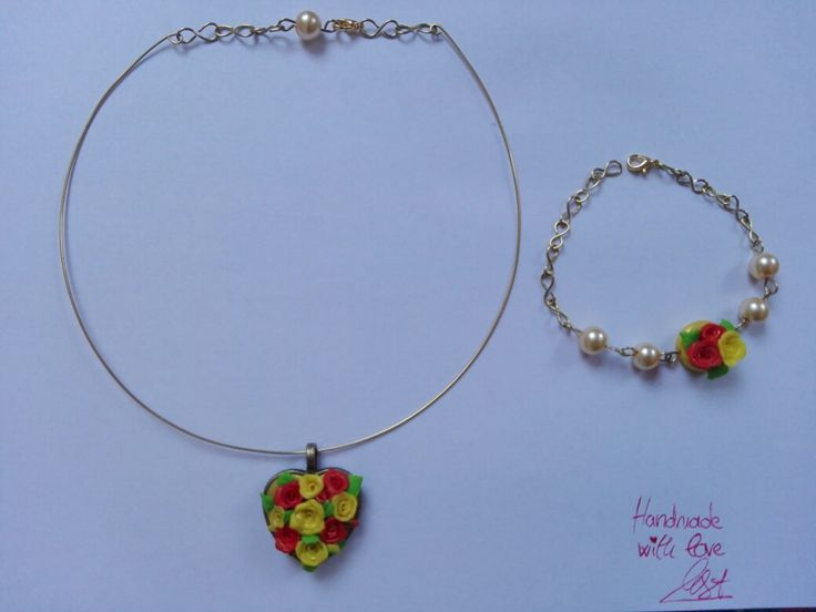 Polymer clay and pearl necklace and bracelet set. Handmade with love by MSA.