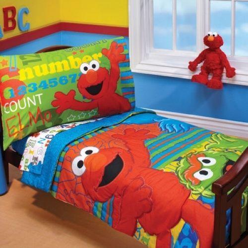 Toddler Bedding Set Sesame Street Elmo ABC 123 4 Piece Boy Girl Kids Bedroom…