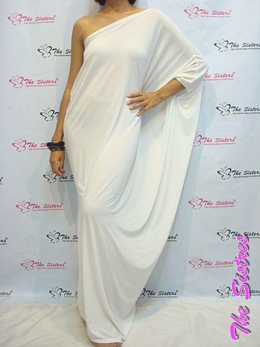 NWT Women's White Evening Long One Shoulder Maxi Dress Plus  Sz XL XXL 14 16