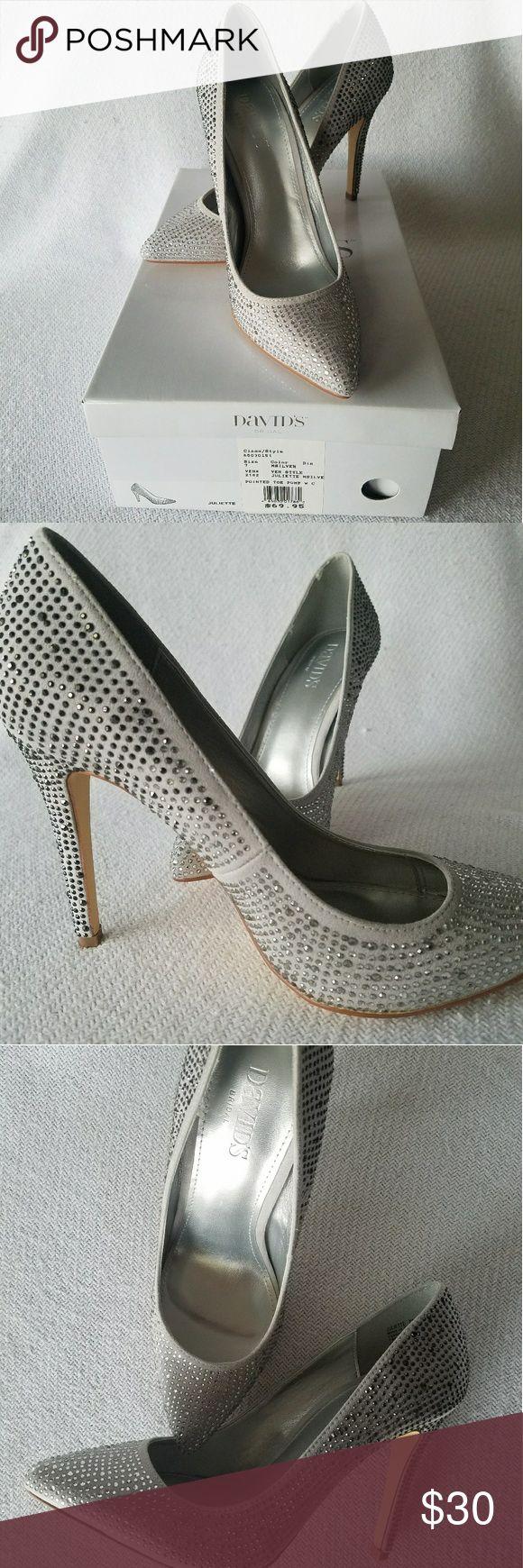 David's Bridal Sparkling Stilettos Never worn, ombre grey stilettos. David's Bridal Shoes Heels