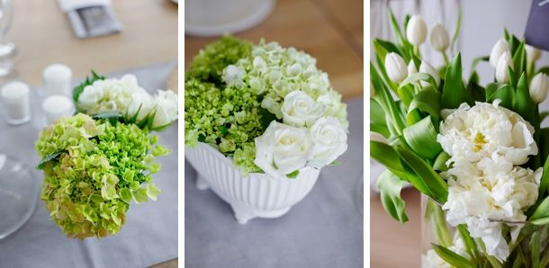 green and white wedding flowers.