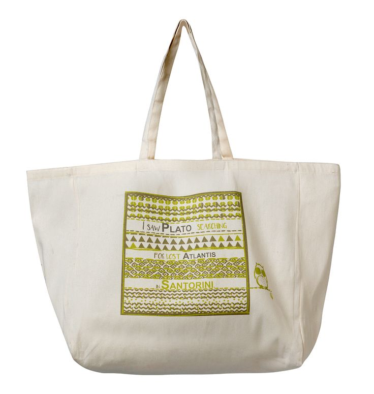 Beach Bag Santorini: I saw Plato talking about the myth of Atlantis in Santorini! Material: Canvas.