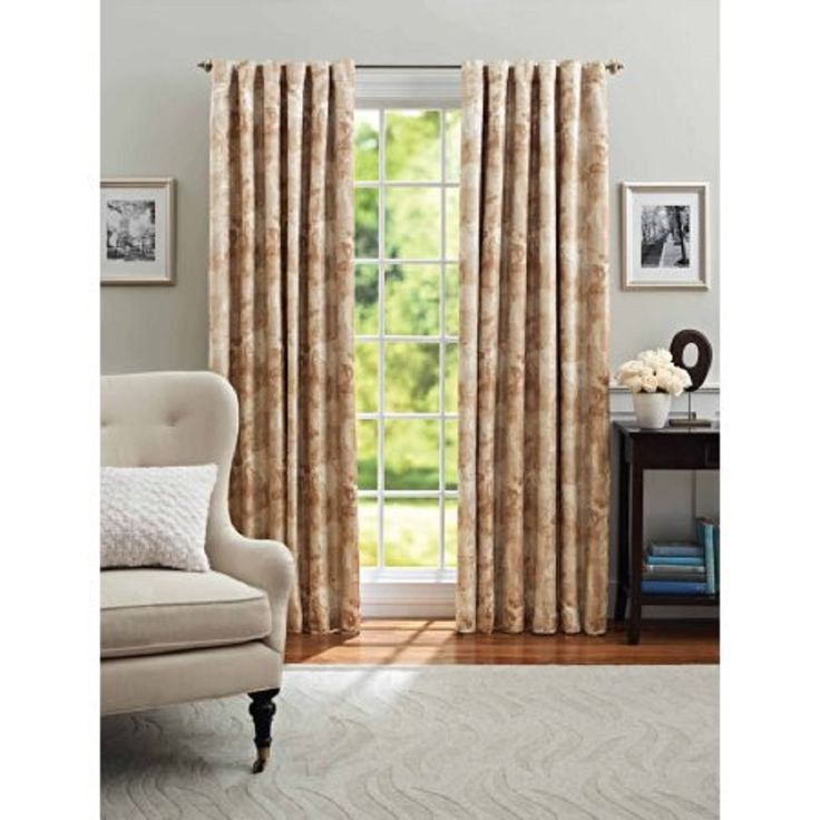 """Better Homes and Gardens Leaf Scroll Thermal Window Panel, Neutral, 84"""""""
