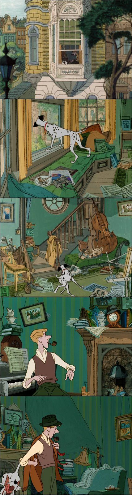 Roger's flat -  101 dalmatians. Reportedly Walt Disney hated this cartoon animation. He said it was too much like pencil drawings and not nearly up to par from his past masterpieces. I totally agree!