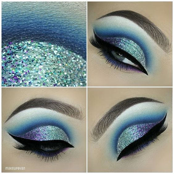 Purple blue mermaid make up | ko-te.com by @evatornado |