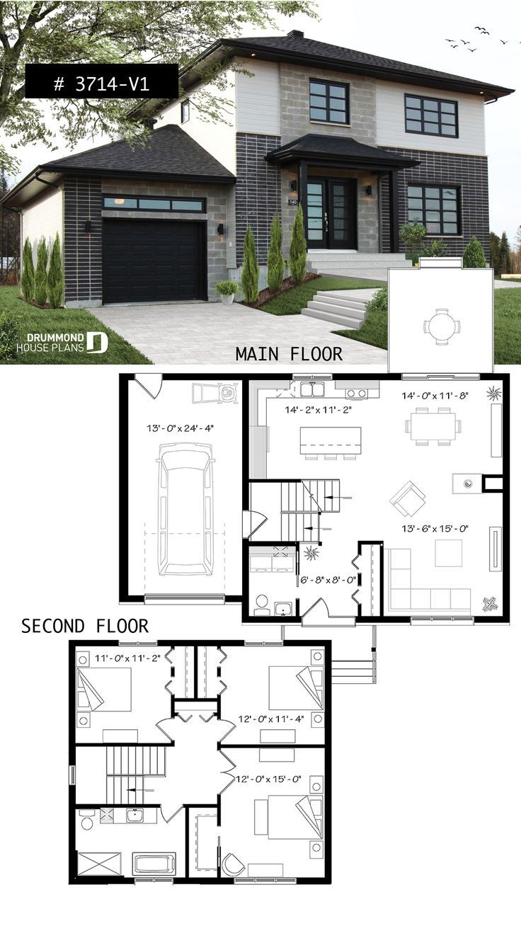 Twostory contemporary home plan with garage, open dining