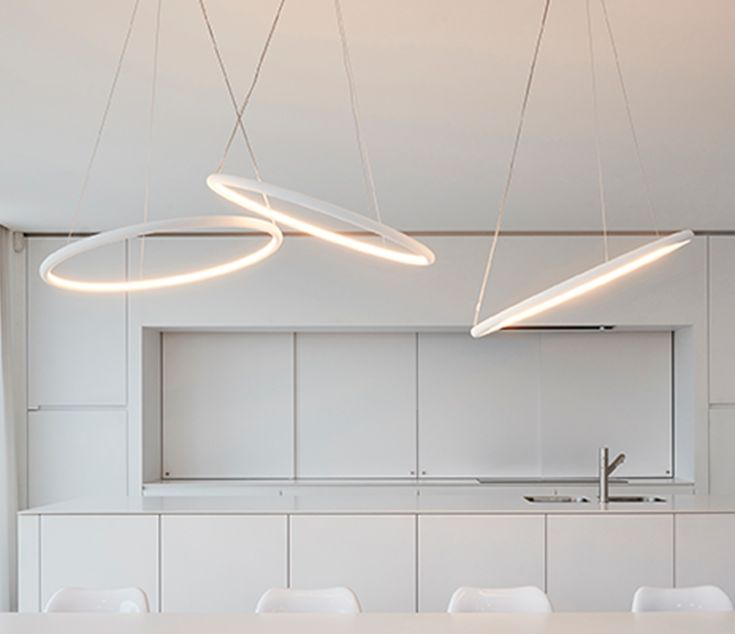 Halo 100 with its very light and minimal design halo creates an archetypical light circle the soft light is directed upwards and downwards while its