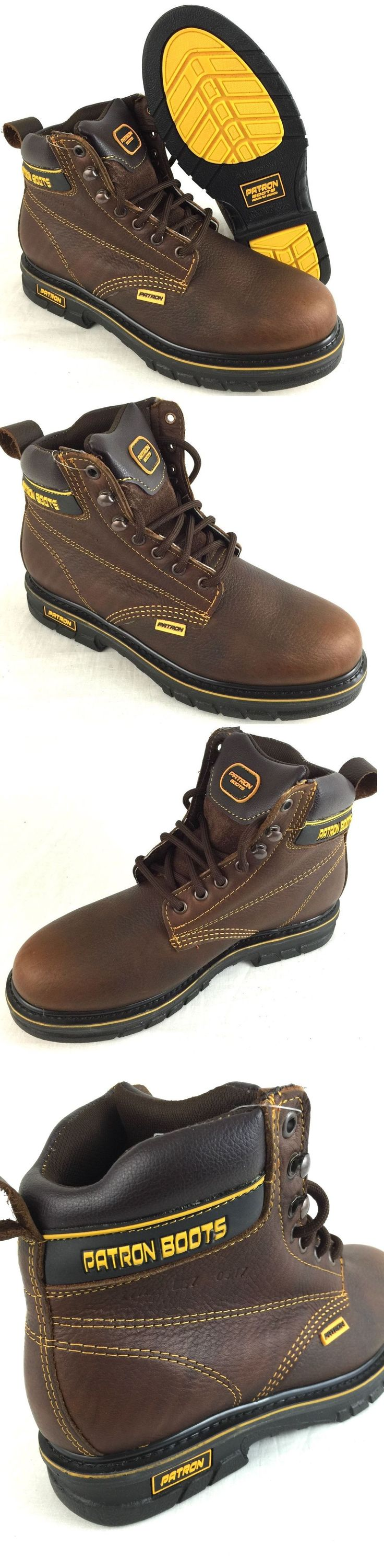 Boots 11498: Men S Work Boots Round Toe Genuine Leather Lace Up Safety Brown  Botas