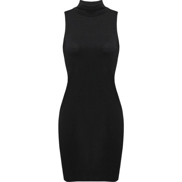 Yoins Polo Neck Bodycon Mini Dress ($14) ❤ liked on Polyvore featuring dresses, vestidos, black, sleeveless short dress, sleeveless bodycon dress, turtle neck dress, body conscious dress and sleeveless turtleneck top