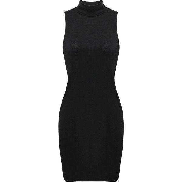 Yoins Polo Neck Bodycon Mini Dress (£9.32) ❤ liked on Polyvore featuring dresses, vestidos, black, turtle neck dress, sleeveless turtleneck, turtleneck top, mini dress and sleeveless turtleneck dresses