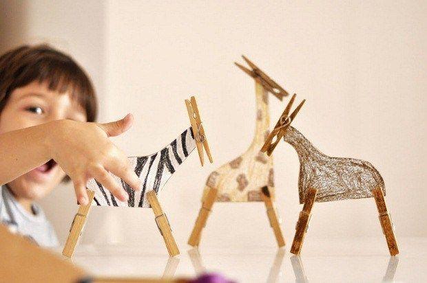 pinza de la ropa idea de la artesanía para el safari de la diversión con animales hechos a mano diy cebra africano