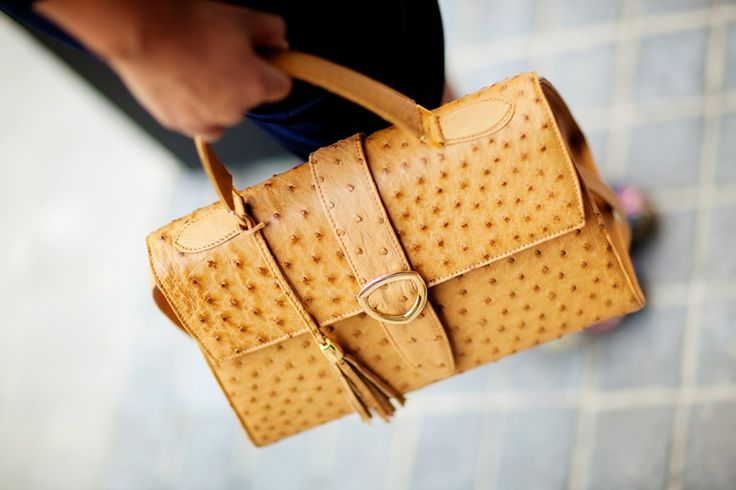 Such gorgeous ostrich leather bags. Principessa in Champagne brown. www.pedicollections.com