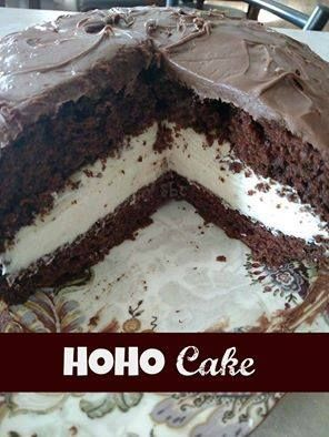 This cake is perfect for Easter dinner! So easy and delicious !!   <3 HOHO Cake <3  1 chocolate cake mix prepared according to box directions and pour into prepared two 9 inch cake pans and bake for time specified on box. 1 can milk chocolate frosting  Filling:: 1 8 oz cream cheese softened 1 stick butter softened 3 cups confection sugar 1 8 oz tub cool whip  Blend cream cheese and butter until smooth, add confection sugar mix well, fold in cool whip then refrigerate.  Once cake is cooled…