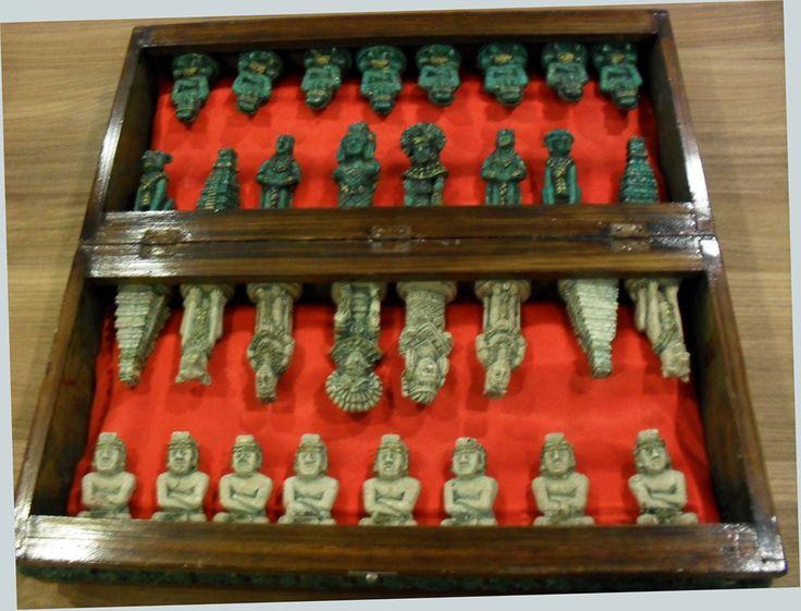Scarce Antique Wood Stone Mayan Chess Set Mexico