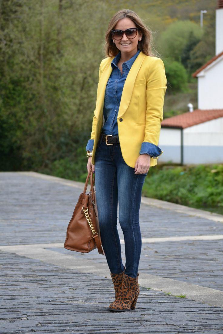 chambray yellow blazer denim outfit fashion pinterest. Black Bedroom Furniture Sets. Home Design Ideas
