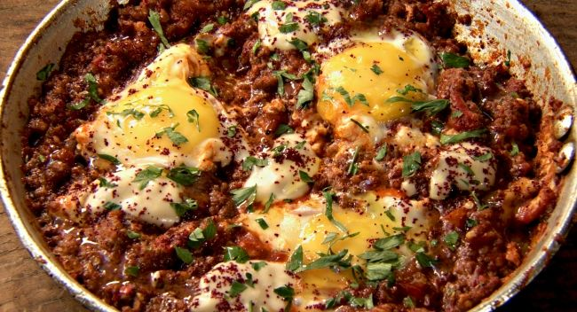 Ottolenghi - Recipes - Beef shakshuka with smoked aubergine
