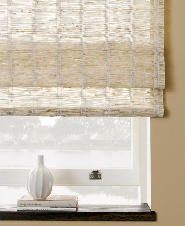 Woven Wood Shades in Montauk have a wonderful unique, earthy texture. Shown in Montauk-1. | The Shade Store