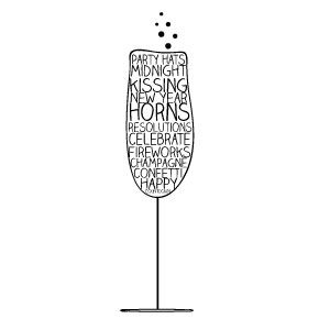 Free New Years Clipart! A champagne glass full of New Years sayings!