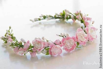Свадебный венок с мини-пионами - бледно-розовый,венок,венок на голову
