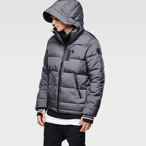 G-Star Raw Men's Whistler Hooded Down Jacket in Raven Heather