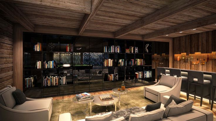 Luxury Living Room with Library in Austrian Villa for Rental