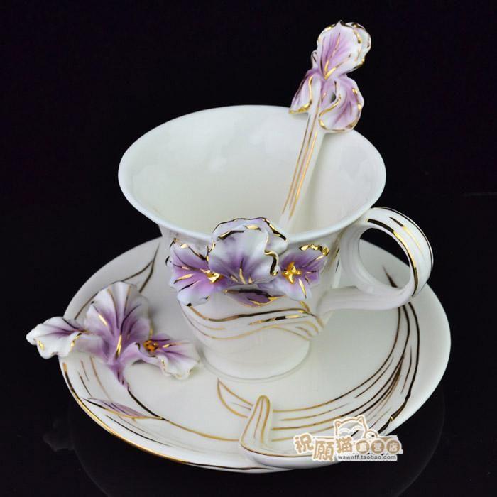 Мода Европейской Эмали Cixuan золото ирис кофе чашка с блюдцем костяной фарфор чашки набор купить на AliExpress