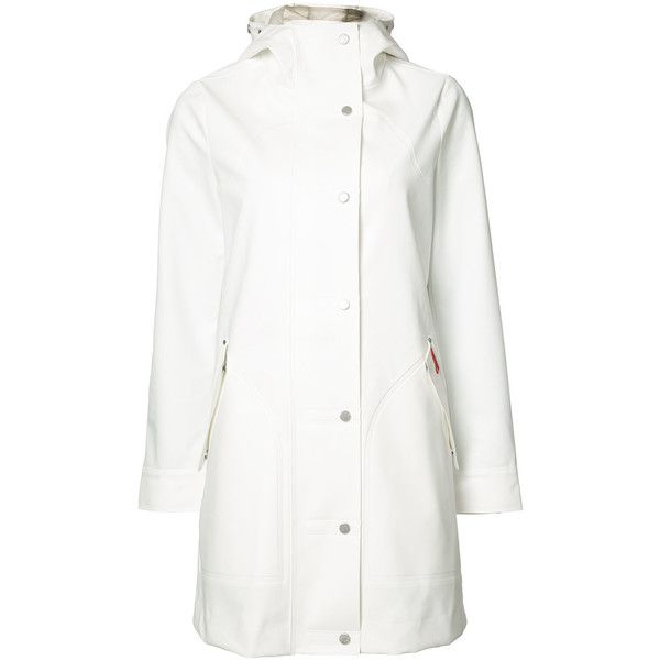 Hunter Core hooded hunting coat ($420) ❤ liked on Polyvore featuring outerwear, coats, white, white coat, hunter coat, white hooded coat and hooded coat